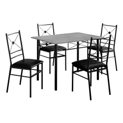 """Monarch Specialties 43""""W Rectangular Table With 4 Chairs, Gray Wood-Look/Black"""