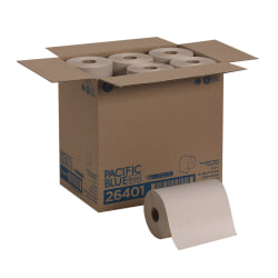 Pacific Blue™ by GP PRO Basic 1-Ply Paper Towels, 350' Per Roll, Brown, 350 Sheets Per Roll, Pack Of 12 Rolls