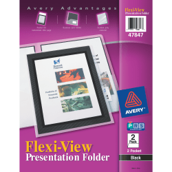Avery® Flexi-View 2-Pocket Folders, Black, Pack Of 2
