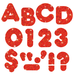 """TREND Ready Letters®, 2"""", Sparkle Casual Letters/Numbers, Red, Pre-K - Grade 8, Pack Of 142"""