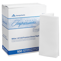 """Georgia-Pacific Essence 1-Ply Replacement Linen Napkins, 17"""" x 17"""", White, 100 Napkins Per Pack, Case Of 4 Packs"""