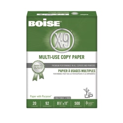 "Boise® X-9® Multi-Use Copy Paper, 3-Hole Punched, Letter Size (8 1/2"" x 11""), 92 (U.S.) Brightness, 20 Lb, Ream Of 500 Sheets"