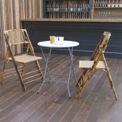 "Flash Furniture Round Plastic Folding Table, 29-3/8"" x 24"", Granite White"