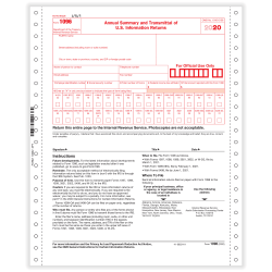 """ComplyRight™ 1096 Transmittal Tax Forms, Continuous, 9"""" x 11"""", Pack Of 100 Forms"""