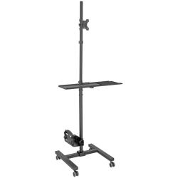 "Tripp Lite Mobile Workstation TV Floor Stand Cart Height-Adjustable 17-32in - Up to 32"" Screen Support - 17.64 lb Load Capacity - 70.1"" Height x 25.7"" Width x 21"" Depth - Floor - Steel - Black"