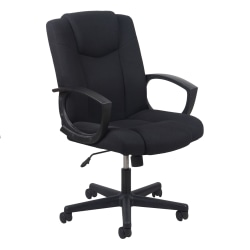 OFM Essentials Swivel Fabric Task Chair, High-Back, Black/Silver