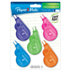 "Paper Mate® Liquid Paper® DryLine® Mini Fashion Correction Tape, 1 Line x 196"", Assorted Fashion Colors, Pack Of 5"