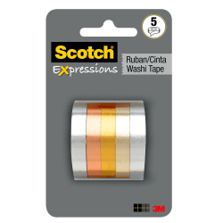 "Scotch® Expressions Washi Tape, 0.59"" x 32.75'., Metallic, Pack Of 5"