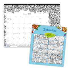 "Blueline® DoodlePlan™ Coloring Monthly Desk Pad Calendar, 22"" x 17"", 50% Recycled, FSC® Certified, January to December 2021"