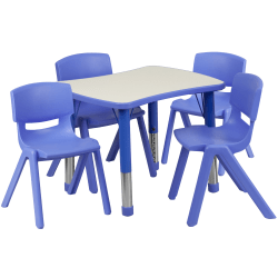 "Flash Furniture Rectangular Plastic Height-Adjustable Activity Table With 4 Chairs, 23-1/2""H x 21-7/8""W x 26-5/8""D, Blue"