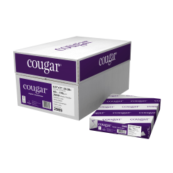 """Cougar® Digital Printing Paper, Letter Size (8 1/2"""" x 11""""), 98 (U.S.) Brightness, 65 Lb Cover (176 gsm), FSC® Certified, 250 Sheets Per Ream, Case Of 10 Reams"""