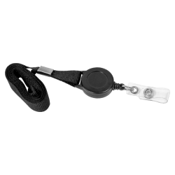 "SICURIX Lanyard Card Reel - 12 / Pack - 36"" Length - Black"