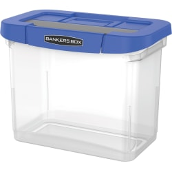 "Bankers Box® Heavy-Duty Portable Storage File Box, 10 3/4"" x 6 3/4"" x 11 3/4"", Blue/Clear"