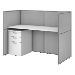 """Bush Business Furniture Easy Office 60""""W Straight Desk With File Cabinet And 45""""H Closed Panels, Pure White/Silver Gray, Premium Installation"""