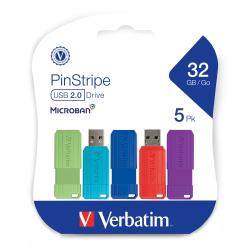 Verbatim 32GB PinStripe USB 2.0 Flash Drive - 5 PK - 32 GB - USB 2.0 - Blue, Green, Red, Purple, Teal - Lifetime Warranty