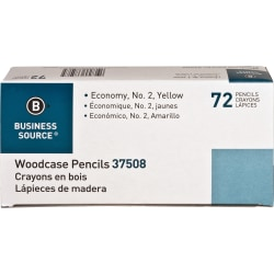 Business Source Woodcase No. 2 Pencils - #2 Lead - Yellow Wood Barrel - 72 / Box