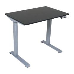 "Victor Electric Standing Desk, 28-3/4""H x 36""W x 23-5/8""D, Black/Light Gray"