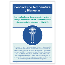 """ComplyRight™ Corona Virus And Health Safety Poster, Temperature And Wellness Checks, Spanish, 10"""" x 14"""""""