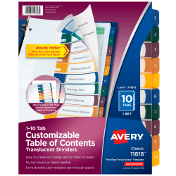 Avery® Ready Index® Plastic Table Of Contents Dividers, 10-Tab, Multicolor