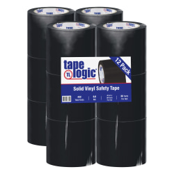 """BOX Packaging Solid Vinyl Safety Tape, 3"""" Core, 4"""" x 36 Yd., Black, Case Of 12"""