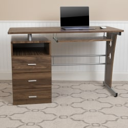 "Flash Furniture 48""W Computer Desk With 3-Drawer Single Pedestal, Rustic Walnut"