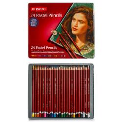 Derwent Pastel Pencil Set, Assorted Colors, Set Of 24 Pencils