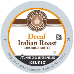 Barista Prima Coffeehouse® Italian Roast Decaffeinated Coffee Single-Serve K-Cup®, 0.31 Oz, Carton Of 24