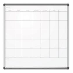 "U Brands PINIT Magentic Dry-Erase/Calendar Board, Steel, 36"" x 36"", White Board, Silver Metal Frame"