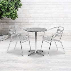 "Flash Furniture Round Aluminum Table With 2 Slat-Back Chairs, 27-1/2"" x 23-1/2"""