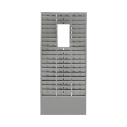 """MMF Time Card/Ticket Message Rack, 54 Pockets, 30"""" x 13 5/8"""" x 2"""", Gray"""