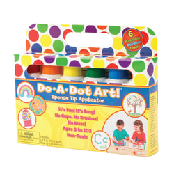 Do-A-Dot Art! Rainbow Washable Sponge Tip Markers, Assorted Colors Pack Of 6