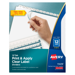 Avery® Print & Apply Clear Label Dividers With Index Maker® Easy Apply™ Printable Label Strip And White Tabs, 12-Tab, Box Of 5 Sets