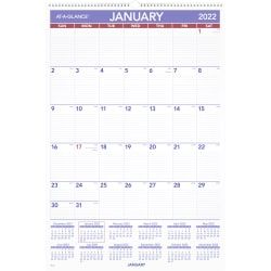 """AT-A-GLANCE® Monthly Wall Calendar, 20"""" x 30"""", January To December 2022, PM428"""
