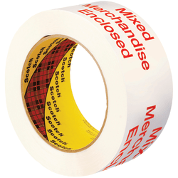 """3M™ 3775 Printed Message Tape, 3"""" Core, 2"""" x 110 Yd., White/Red, Case Of 36"""