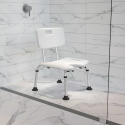 """Flash Furniture Hercules Adjustable Bath And Shower Chair With U-Shaped Cutout, 33-3/4""""H x 19-1/4""""W x 20-1/2""""D, White"""