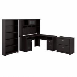 """Bush Furniture Cabot 60""""W L-Shaped Desk With Hutch, Lateral File And 5-Shelf Bookcase, Espresso Oak, Standard Delivery"""