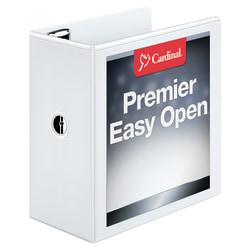 "Cardinal® EasyOpen™ ClearVue™ Locking View 3-Ring Binder, 5"" D-Rings, 52% Recycled, White"