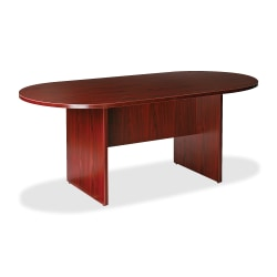 """Lorell® Essentials Oval Conference Table, 72""""W, Mahogany"""