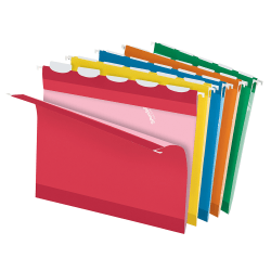 Pendaflex® Ready-Tab® Reinforced Hanging Folders, Letter Size, Assorted Colors, 5 Tab, Box Of 25