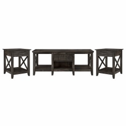 Bush Furniture Key West Coffee Table With Set Of 2 End Tables, Dark Gray Hickory, Standard Delivery