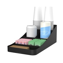 Mind Reader Trove 7-Compartment Coffee Condiment And Cup Organizer, Black