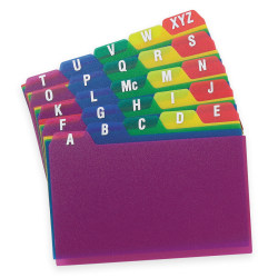 "Oxford® Poly Card Guides, A-Z, 3"" x 5"", Assorted Colors"