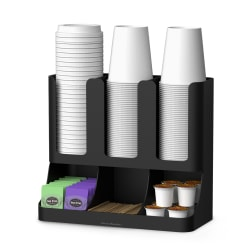 Mind Reader Flume 6-Compartment Upright Coffee Condiment And Cup Organizer, Black