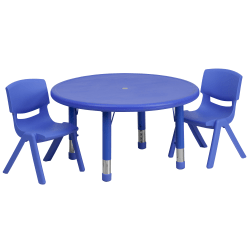 "Flash Furniture Round Plastic Height-Adjustable Activity Table With 2 Chairs, 23-3/4"" x 33"", Blue"