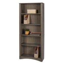 "Realspace® Pelingo 72""H 5-Shelf Bookcase, Gray"