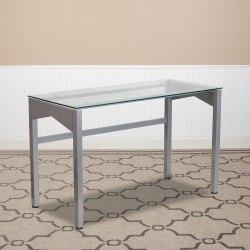 "Flash Furniture 48""W Contemporary Glass Computer Desk, Clear/Silver"