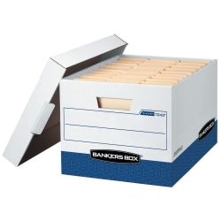 """Bankers Box® R Kive® Heavy-Duty Storage Boxes With Locking Lift-Off Lids And Built-In Handles, Letter/Legal Size, 10"""" x 12"""" x 15"""" Liters, 60% Recycled, White/Blue, Case Of 20"""