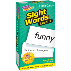 """TREND Sight Words Skill Drill Flash Cards, Level 1, 6"""" x 3"""", Pack Of 96"""