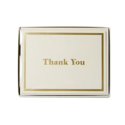 """Sincerely A Collection by C.R. Gibson® Top-Fold Thank You Notes, 3 3/4"""" x 5"""", Ivory, Pack Of 10"""