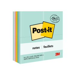 """Post-it® Notes, 3"""" x 3"""", Marseille Color Collection, Pack Of 24 Pads"""